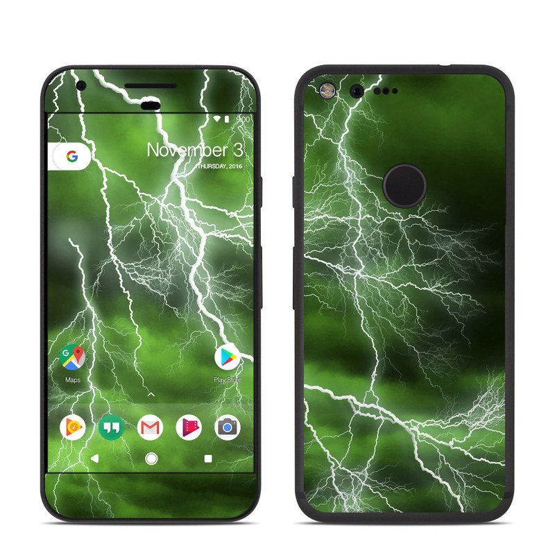 Google Pixel Skin design of Thunderstorm, Thunder, Lightning, Nature, Green, Water, Sky, Atmosphere, Atmospheric phenomenon, Daytime with green, black, white colors