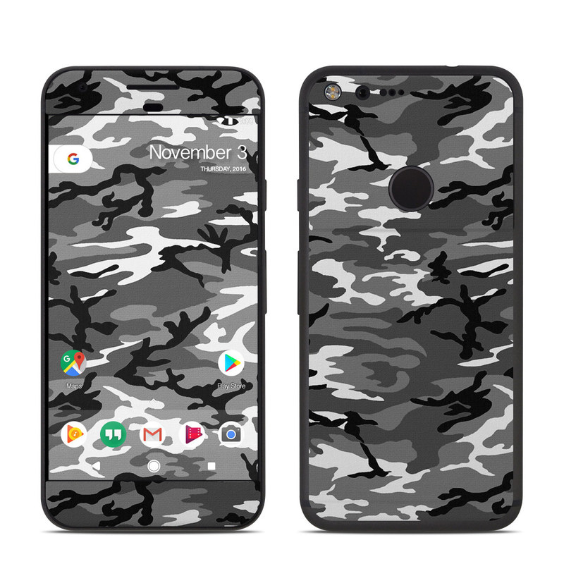 Google Pixel Skin design of Military camouflage, Pattern, Clothing, Camouflage, Uniform, Design, Textile with black, gray colors