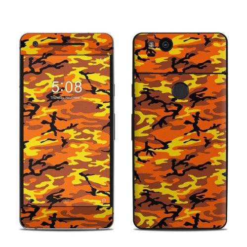 Orange Camo Google Pixel 2 Skin