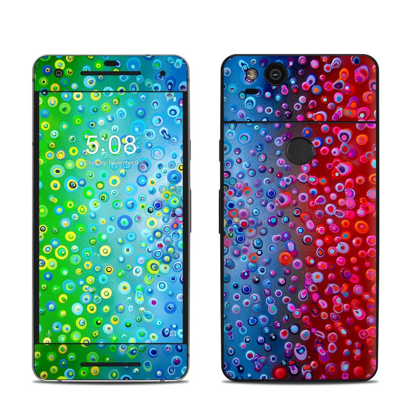 Google Pixel 2 Skin design of Water, Blue, Colorfulness, Liquid bubble, Pattern, Drop, Circle with red, blue, green, yellow, purple colors