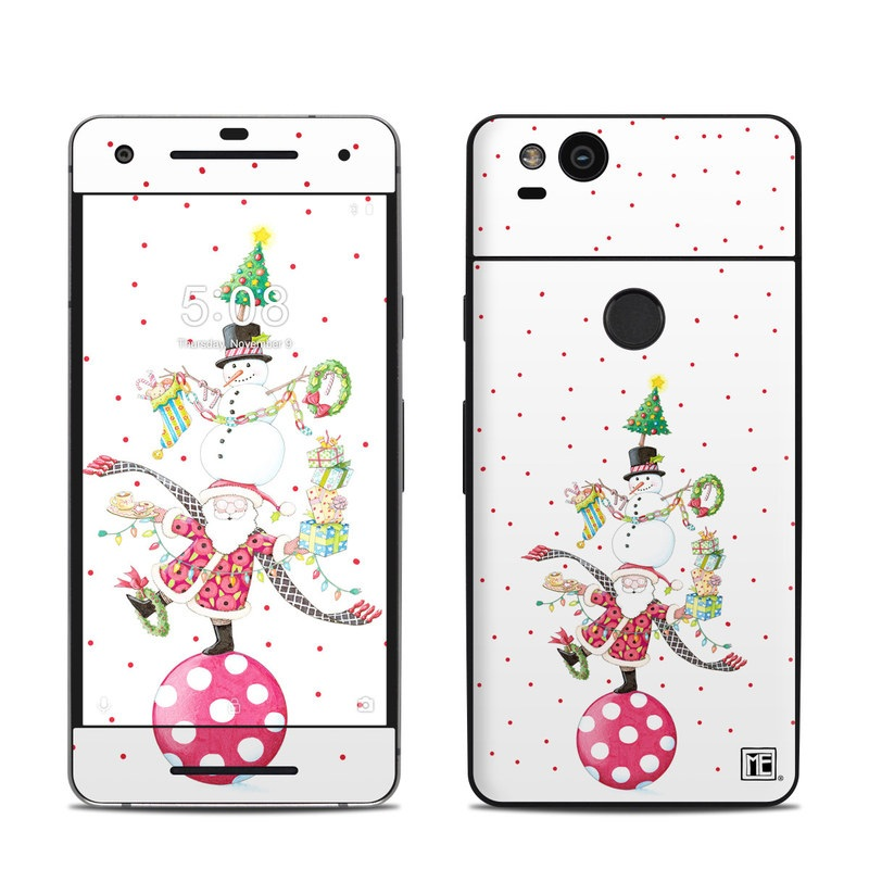 Google Pixel 2 Skin design of Clip art, Holiday ornament, Fictional character with white, red, green, black, blue colors