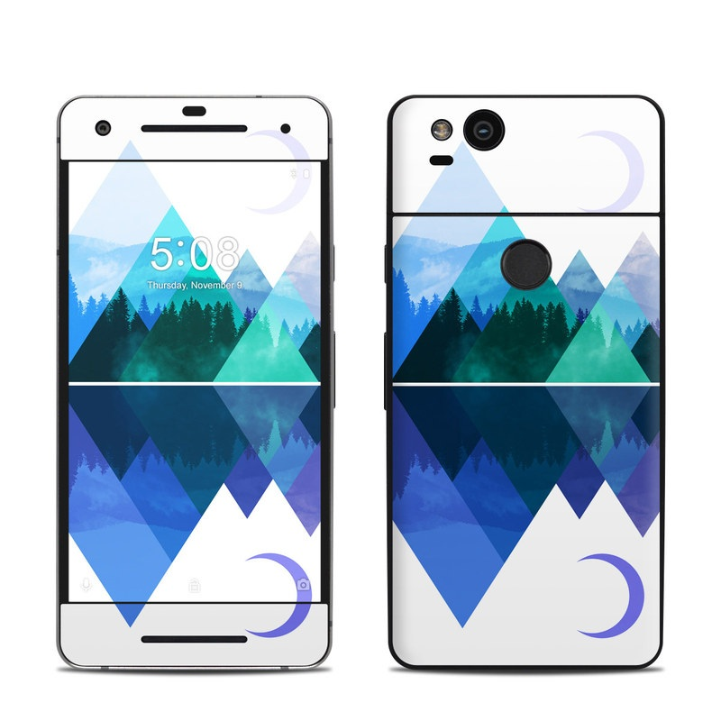 Google Pixel 2 Skin design of Blue, Cobalt blue, Azure, Pattern, Logo, Design, Electric blue, Graphics, Illustration, Triangle with white, blue, purple, green colors