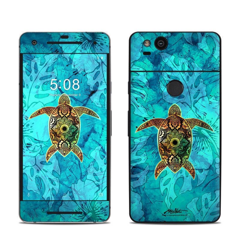 Google Pixel 2 Skin design of Sea turtle, Green sea turtle, Turtle, Hawksbill sea turtle, Tortoise, Reptile, Loggerhead sea turtle, Illustration, Art, Pattern with blue, black, green, gray, red colors