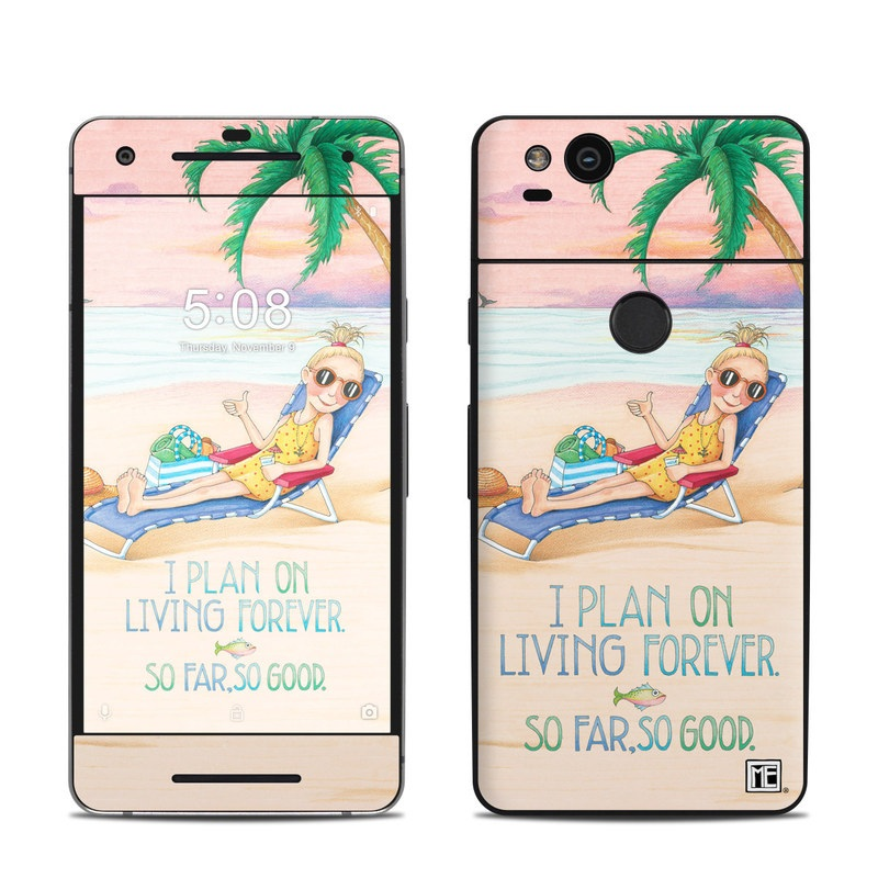 Google Pixel 2 Skin design of Vacation, Product, Summer, Aqua, Illustration, Sun tanning, Fictional character, Caribbean, Graphics, Happy with pink, green, brown, yellow, blue, white, red colors