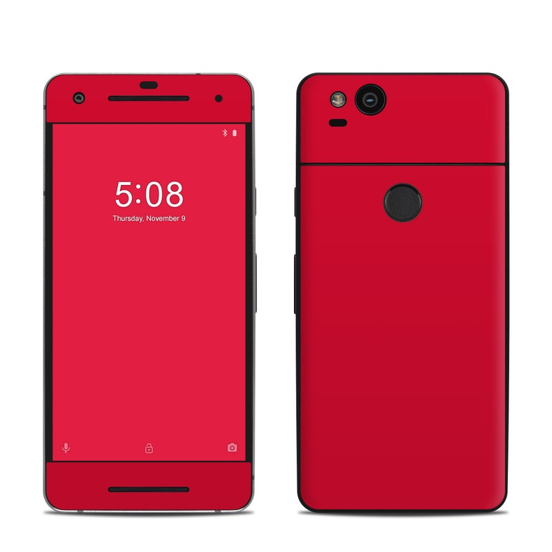 Google Pixel 2 Skin design of Red, Pink, Maroon, Purple, Orange, Violet, Magenta, Material property, Font, Peach with red colors