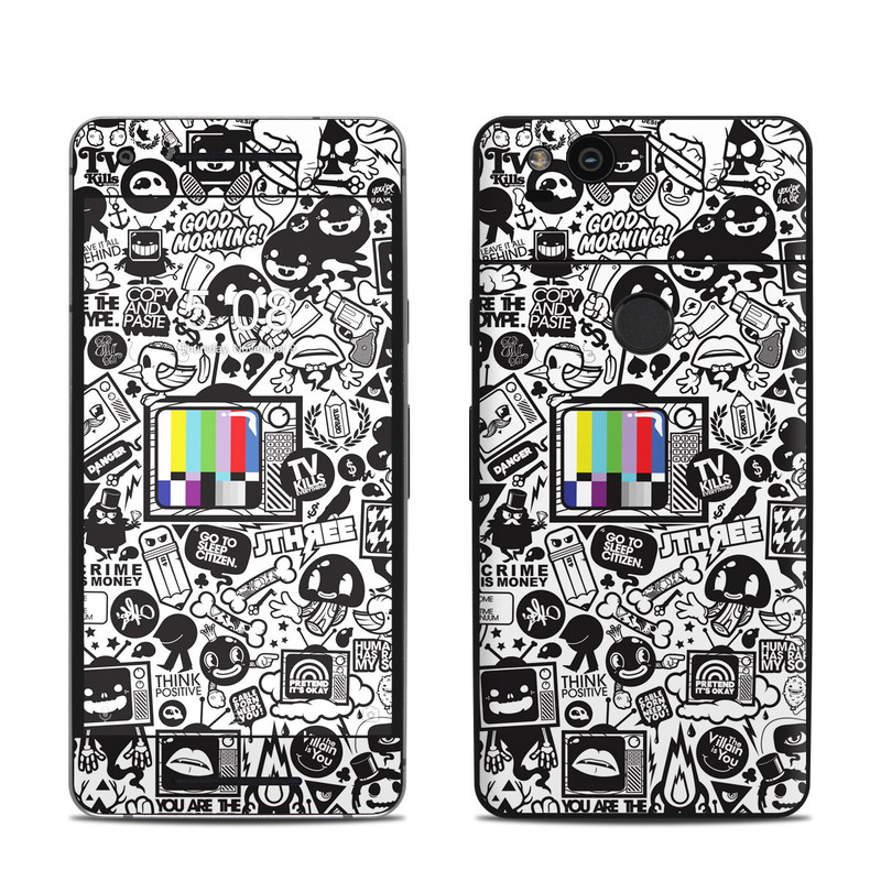 Google Pixel 2 Skin design of Pattern, Drawing, Doodle, Design, Visual arts, Font, Black-and-white, Monochrome, Illustration, Art with gray, black, white colors
