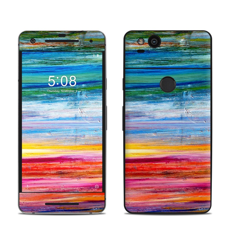 Google Pixel 2 Skin design of Sky, Painting, Acrylic paint, Modern art, Watercolor paint, Art, Horizon, Paint, Visual arts, Wave with gray, blue, red, black, pink colors