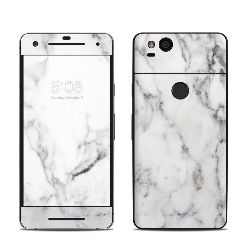 Google Pixel 2 Skin design of White, Geological phenomenon, Marble, Black-and-white, Freezing with white, black, gray colors