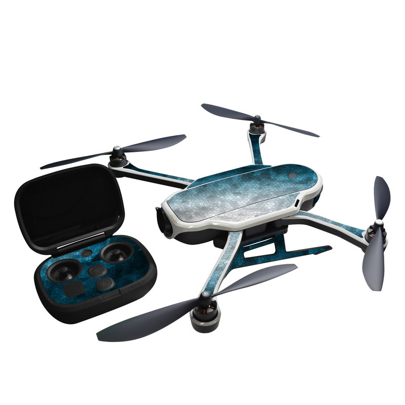 GoPro Karma Skin design of Blue, Aqua, Turquoise, Green, Water, Teal, Sky, Azure, Pattern, Atmosphere with blue, white, gray colors