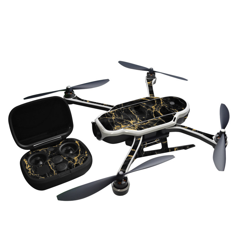 GoPro Karma Skin design of Black, Yellow, Water, Brown, Branch, Leaf, Rock, Tree, Marble, Sky with black, yellow colors
