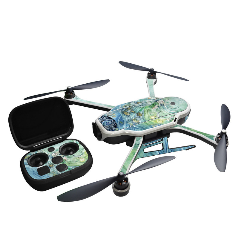 GoPro Karma Skin design of Watercolor paint, Aqua, Water, Illustration, Art, Painting, Cg artwork, Pattern, Graphic design, Graphics with blue, green, yellow, white colors
