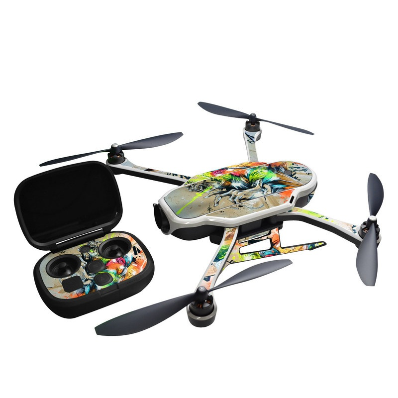 GoPro Karma Skin design of Graphic design, Art, Illustration, Fictional character, Visual arts, Graphics, Painting, Watercolor paint, Modern art, Games with gray, black, green, red, orange, pink colors