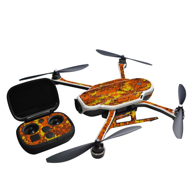 GoPro Karma Skin design of Orange, Yellow, Leaf, Tree, Pattern, Autumn, Plant, Deciduous with red, green, black colors