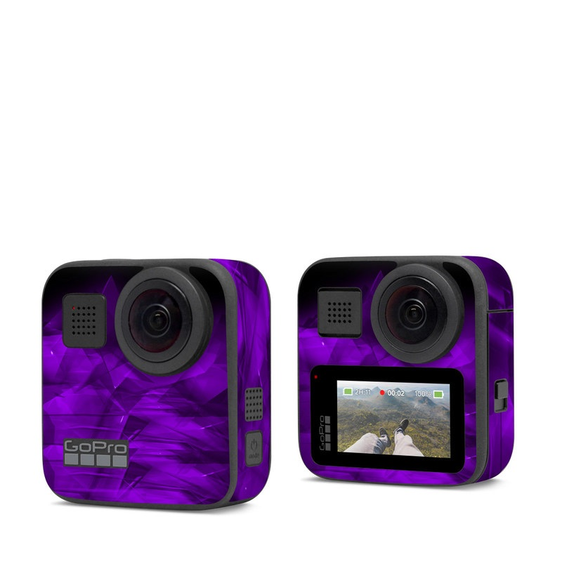 GoPro Max Skin design of Violet, Purple, Pink, Magenta, Blue, Light, Red, Lilac, Petal, Electric blue with black, purple colors