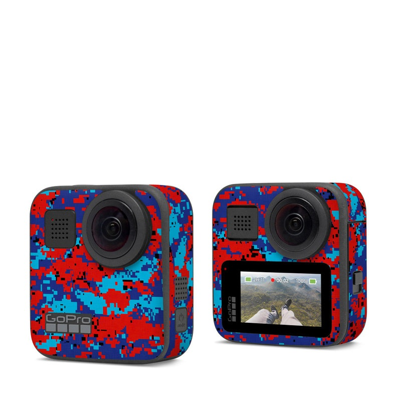 GoPro Max Skin design of Blue, Red, Pattern, Textile, Electric blue with blue, red colors