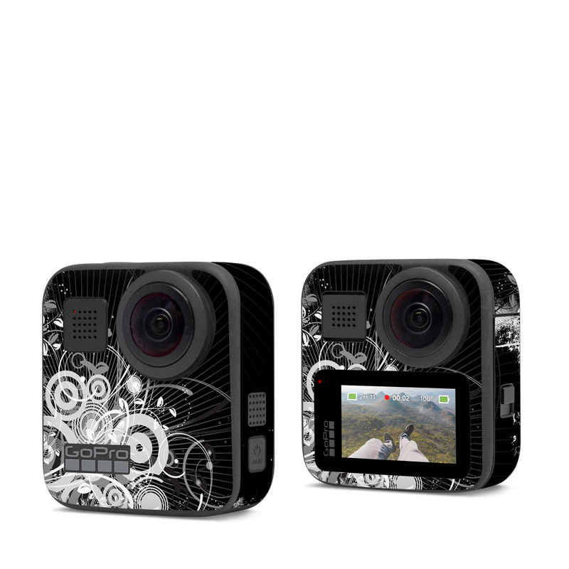 GoPro Max Skin design of Black, Monochrome, Black-and-white, Monochrome photography, Graphic design, Illustration, Design, Stock photography, Photography, Still life photography with black, gray, white colors