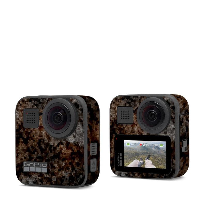 GoPro Max Skin design of Brown, Design, Soil, Pattern, Rock, Rust, Granite, Metal with black, white, gray, brown colors