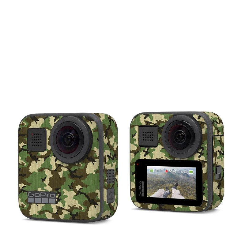 GoPro Max Skin design of Military camouflage, Camouflage, Clothing, Pattern, Green, Uniform, Military uniform, Design, Sportswear, Plane with black, gray, green colors