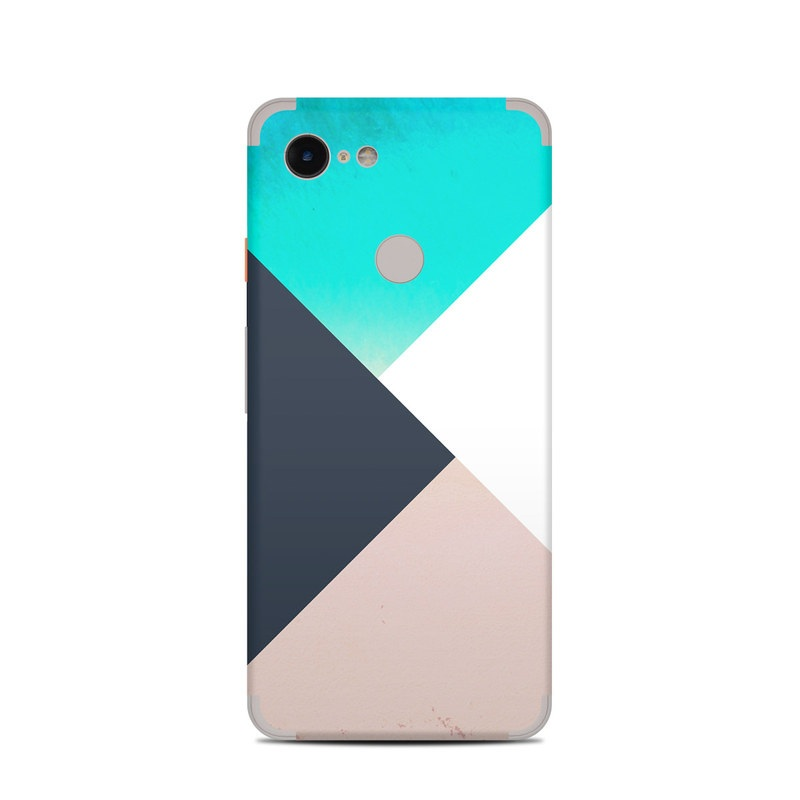 Google Pixel 3 Skin design of Blue, Turquoise, Aqua, Line, Triangle, Design, Material property, Graphic design, Pattern, Architecture with black, white, brown, blue colors
