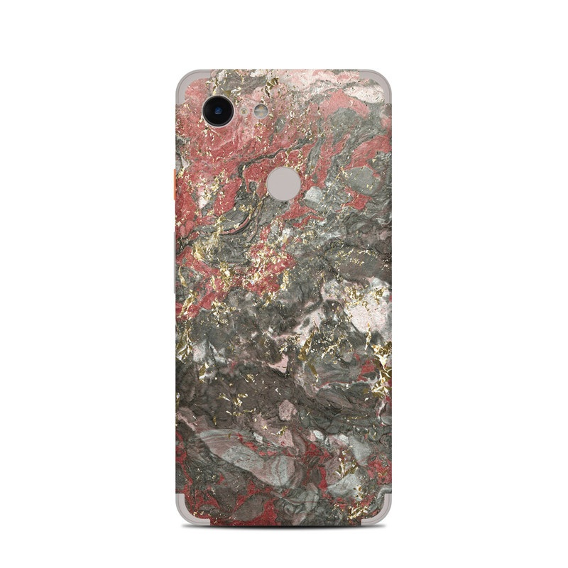 Google Pixel 3 Skin design of Red, Painting, Rock, Art, Geology, Modern art with black, red, white, gray colors