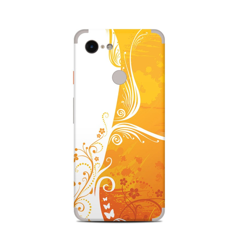 Google Pixel 3 Skin design of Orange, Yellow, Pattern, Amber, Design, Ornament, Floral design, Graphics, Graphic design, Visual arts with orange, white, red, pink, yellow colors