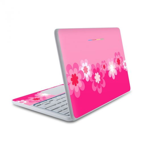Retro Pink Flowers HP Chromebook 11 Skin