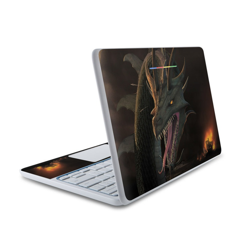HP Chromebook 11 Skin design of Dragon, Cg artwork, Fictional character, Mythical creature, Extinction, Illustration, Demon, Cryptid, Mythology with brown, pink, red, orange colors