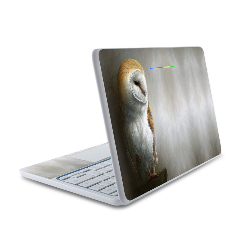HP Chromebook 11 Skin design of Barn owl, Owl, Bird, Bird of prey, Beak, Wildlife with yellow, white, orange, brown colors