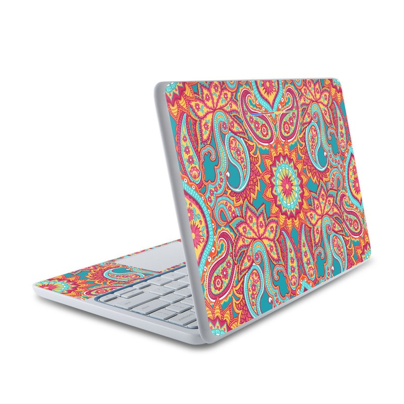 HP Chromebook 11 Skin design of Pattern, Paisley, Motif, Visual arts, Design, Art, Textile, Psychedelic art with orange, yellow, blue, red colors