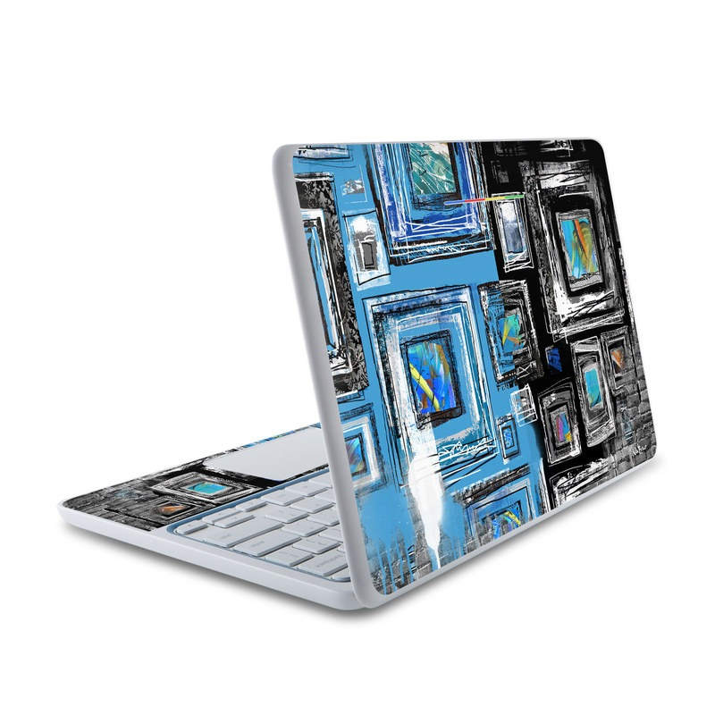 HP Chromebook 11 Skin design of Blue, Art, Wall, Visual arts, Modern art, Watercolor paint, Photography, Still life photography, Painting, City with black, gray, blue, white colors