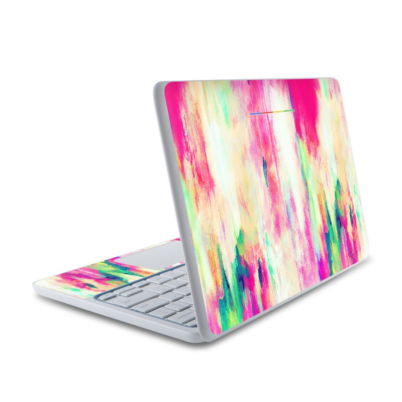 HP Chromebook 11 Skin design of Pink, Magenta, Art, Watercolor paint, Dye, Visual arts, Pattern, Modern art, Painting, Acrylic paint with red, white, green colors