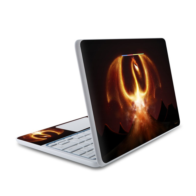 HP Chromebook 11 Skin design of Light, Atmosphere, Orange, Space, Heat, Sky, Darkness, Art, Geological phenomenon, Universe with black, red, green, pink colors