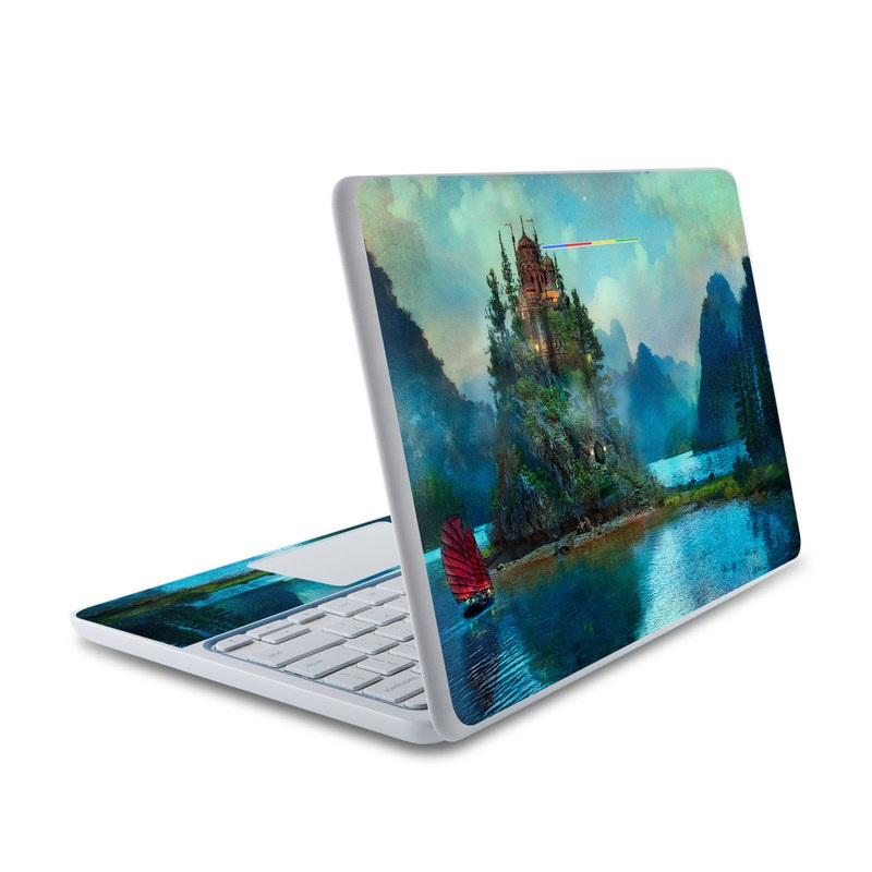 HP Chromebook 11 Skin design of Nature, Natural landscape, Sky, Painting, Landscape, Illustration, Watercolor paint, Art, Calm, Water castle with black, gray, blue, green colors