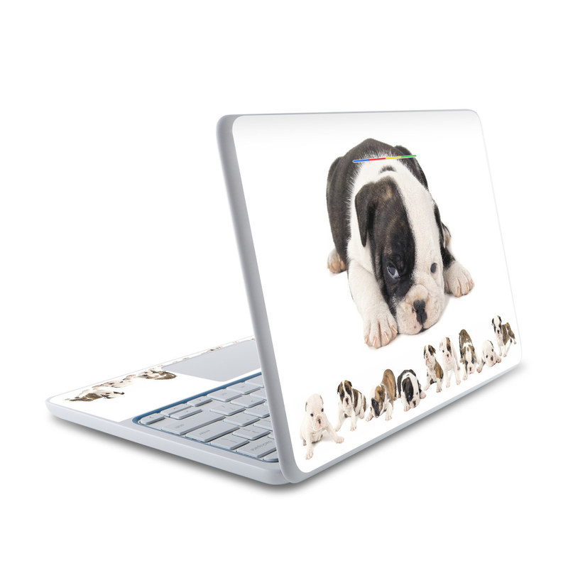 HP Chromebook 11 Skin design of Dog, Vertebrate, Dog breed, Canidae, Mammal, Old english bulldog, Toy bulldog, Puppy, Bulldog, Olde english bulldogge with white, gray, black, pink, yellow colors