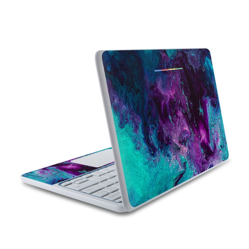 HP Chromebook 11 Skin design of Blue, Purple, Violet, Water, Turquoise, Aqua, Pink, Magenta, Teal, Electric blue with blue, purple, black colors