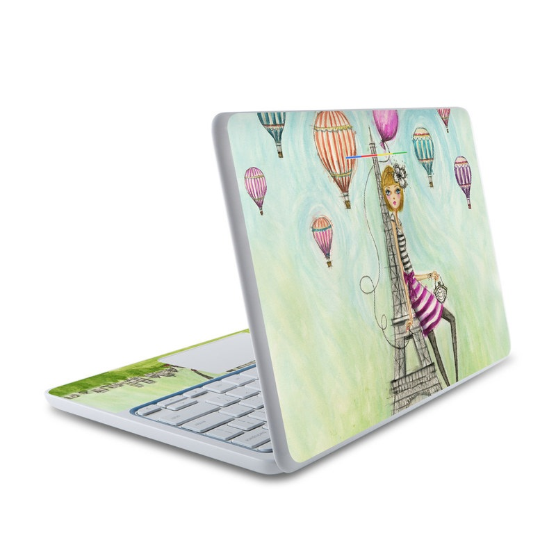 HP Chromebook 11 Skin design of Hot air balloon, Giraffe, Cartoon, Balloon, Giraffidae, Magenta, Hot air ballooning, Illustration, Art, Child art with blue, green, purple, pink, orange, gray, black, white, yellow colors