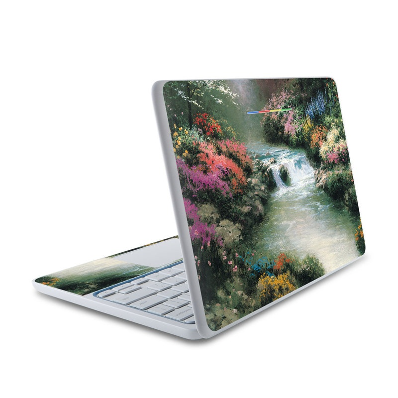 HP Chromebook 11 Skin design of Body of water, Natural landscape, Nature, Stream, Watercourse, River, Water, Water resources, Painting, Mountain river with black, gray, green, red, blue colors