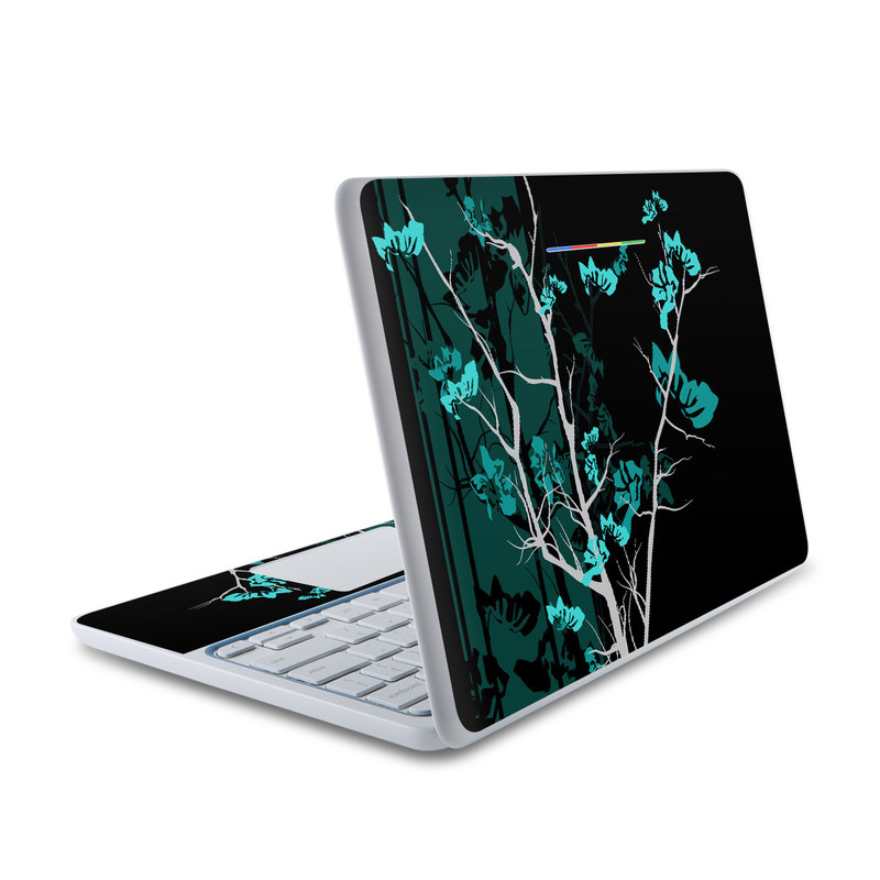 HP Chromebook 11 Skin design of Branch, Black, Blue, Green, Turquoise, Teal, Tree, Plant, Graphic design, Twig with black, blue, gray colors