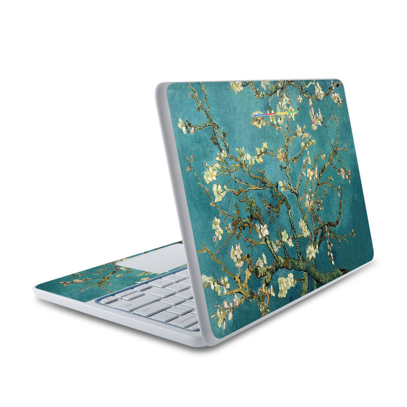 HP Chromebook 11 Skin design of Tree, Branch, Plant, Flower, Blossom, Spring, Woody plant, Perennial plant with blue, black, gray, green colors