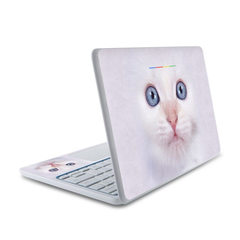 HP Chromebook 11 Skin design of Cat, Whiskers, Face, Nose, Felidae, Small to medium-sized cats, Eye, Skin, Snout, Head with gray, purple, black colors