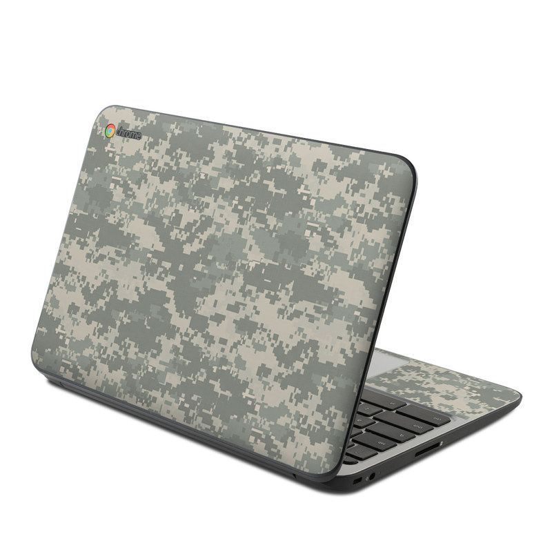 HP Chromebook 11 G4 Skin design of Military camouflage, Green, Pattern, Uniform, Camouflage, Design, Wallpaper with gray, green colors