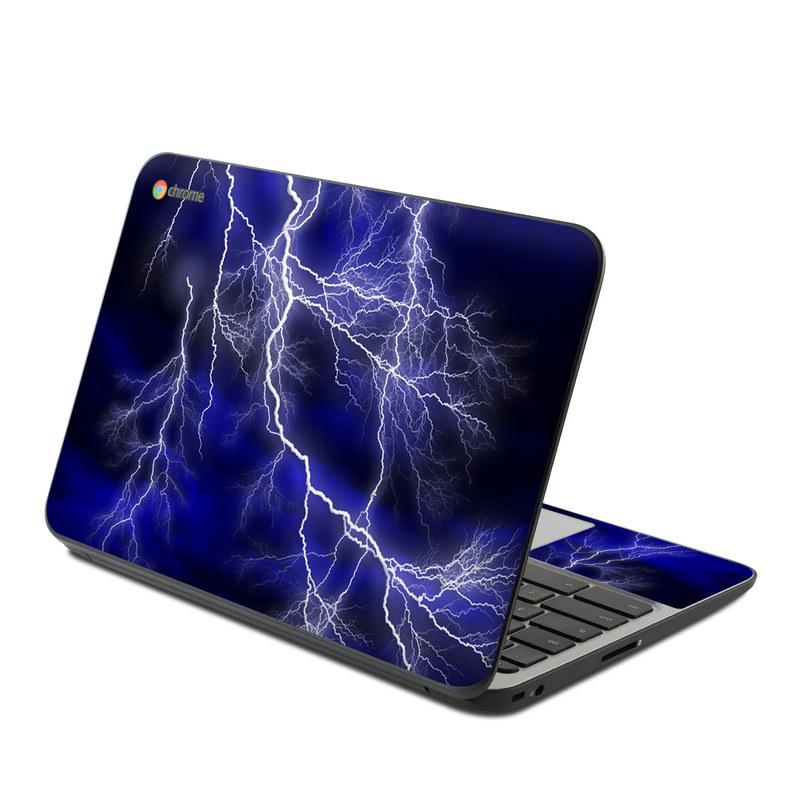 HP Chromebook 11 G4 Skin design of Thunder, Lightning, Thunderstorm, Sky, Nature, Electric blue, Atmosphere, Daytime, Blue, Atmospheric phenomenon with blue, black, white colors