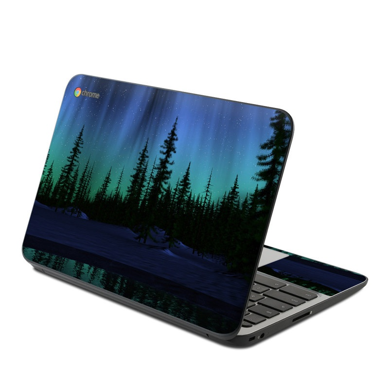 HP Chromebook 11 G4 Skin design of Aurora, Nature, Sky, shortleaf black spruce, Natural landscape, Tree, Wilderness, Natural environment, Biome, Spruce-fir forest with blue, purple, green, black colors