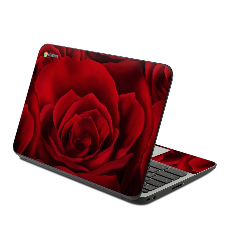 HP Chromebook 11 G4 Skin design of Red, Garden roses, Rose, Petal, Flower, Nature, Floribunda, Rose family, Close-up, Plant with black, red colors