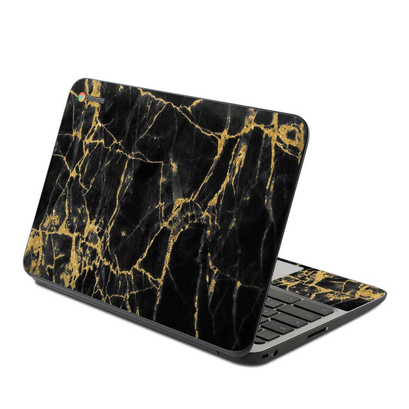 HP Chromebook 11 G4 Skin design of Black, Yellow, Water, Brown, Branch, Leaf, Rock, Tree, Marble, Sky with black, yellow colors