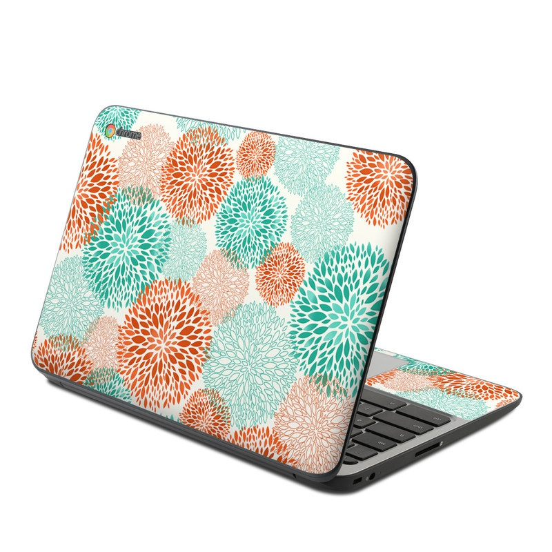 HP Chromebook 11 G4 Skin design of Pattern, Turquoise, Aqua, Orange, Teal, Line, Design, Circle, Textile, Dahlia with gray, pink, white, blue, green colors