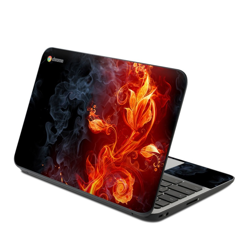 HP Chromebook 11 G4 Skin design of Flame, Fire, Heat, Red, Orange, Fractal art, Graphic design, Geological phenomenon, Design, Organism with black, red, orange colors
