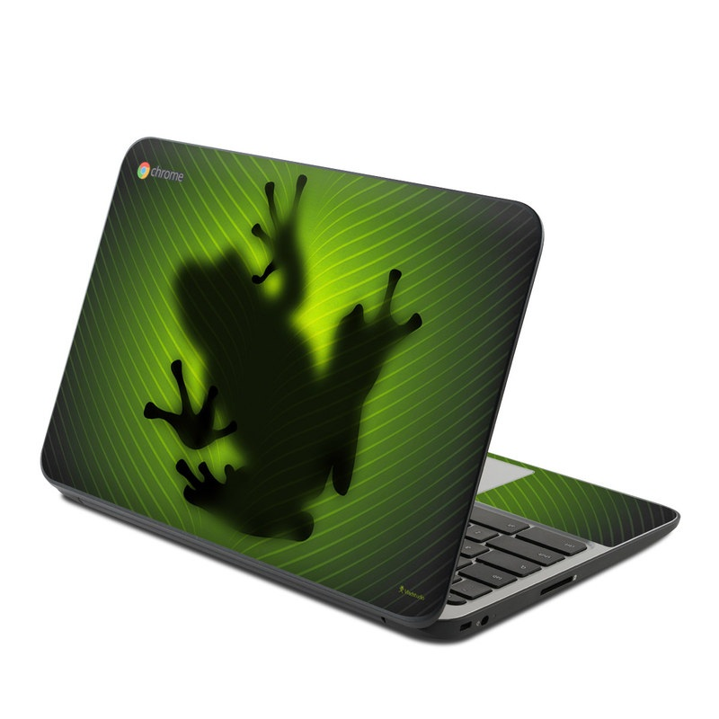 HP Chromebook 11 G4 Skin design of Green, Frog, Tree frog, Amphibian, Shadow, Silhouette, Macro photography, Illustration with green, black colors