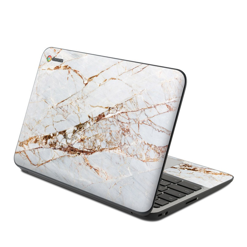 HP Chromebook 11 G4 Skin design of White, Branch, Twig, Beige, Marble, Plant, Tile with white, gray, yellow colors