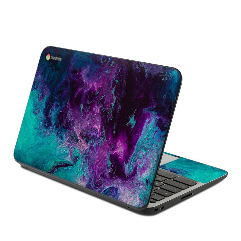 HP Chromebook 11 G4 Skin design of Blue, Purple, Violet, Water, Turquoise, Aqua, Pink, Magenta, Teal, Electric blue with blue, purple, black colors